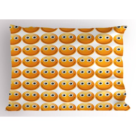 Emoji Pillow Sham Smiley Technologic Modern Happy Loving Mood Full Face Expressions Plain Art Image Print, Decorative Standard Size Printed Pillowcase, 26 X 20 Inches, Yellow, by Ambesonne (Plain Decorative Pillow Cases)