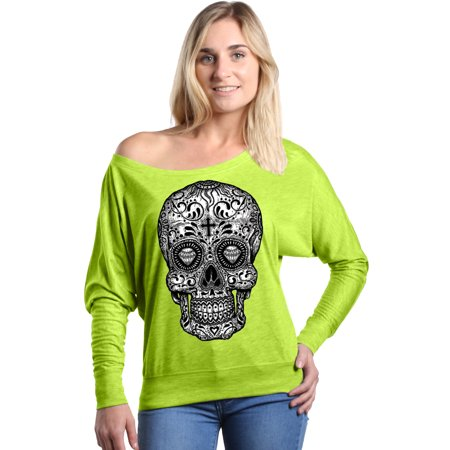 Shop4Ever Women's Black and White Skull Day of the Dead Off Shoulder Long Sleeve Shirt
