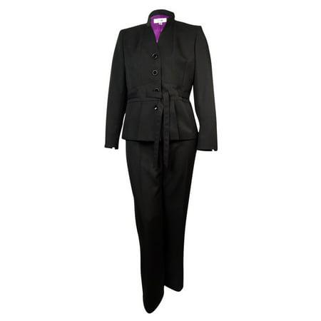86aabd1fb617e Le Suit - Le Suit NEW Black Women s Size 18 Mandarin-Collar Belted Pant  Suit Set  200 - Walmart.com