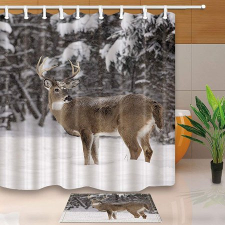 WOPOP Wild Animals Decor White Tailed Deer Buck Stands in Winter Landscape Shower Curtain 66x72 inches with Floor Doormat Bath Rugs 15.7x23.6