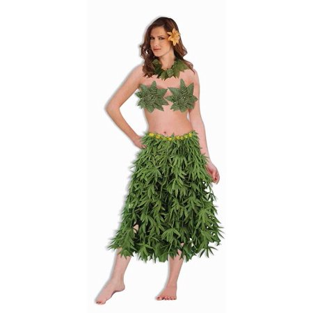 Hawaiian Hula Dancer Set Green Leaf Bra Skirt Lei (3-Piece) - Hawaiian Lei Company