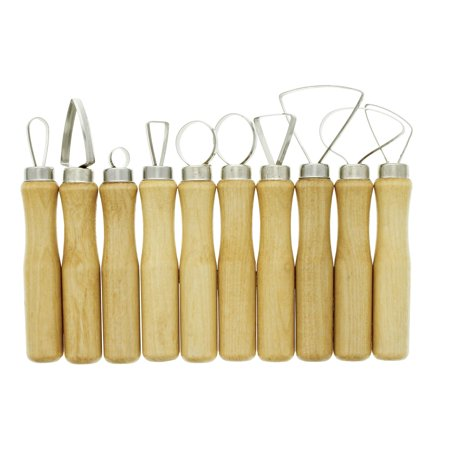 U.S. Art Supply 10-Piece Pottery & Clay Sculpting Carving Tool Set Balinese Wood Carving Art