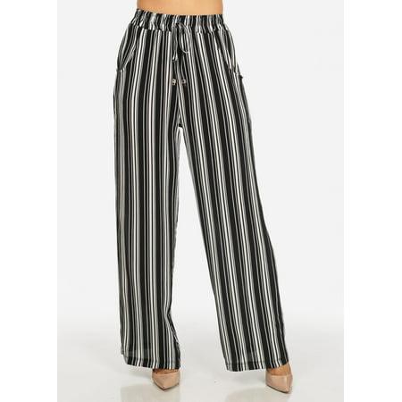 42afb30cfe90 ModaXpressOnline - Womens Juniors Black and White High Waisted Stripe Print  2-Pocket Cute Pants 41545I - Walmart.com