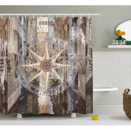 Marine Life Shower Curtain, Navy Sea Life Yacht Theme Colored Wood Backdrop Rudder like Compass Marine Image, Fabric Bathroom Set with Hooks, Brown, by Ambesonne ()