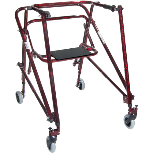 Drive Medical Nimbo Rehab Lightweight Posterior Posture Walker with Seat, Adult, Flame Red