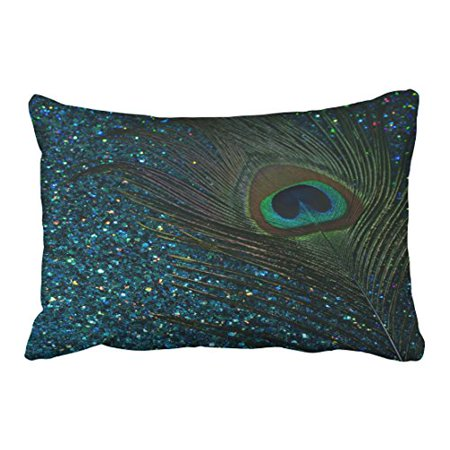 WinHome Popular Glittery Aqua Blue Peacock Pattern Polyester 20 x 30 Inch Rectangle Throw Pillow Covers With Hidden Zipper Home Sofa Cushion Decorative Pillowcases ()