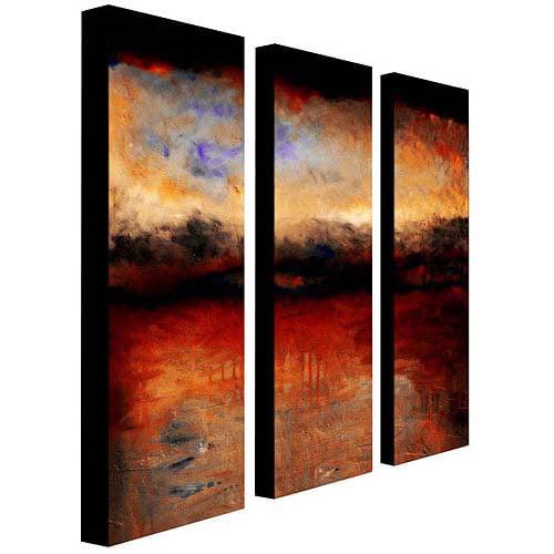 "Trademark Fine Art ""Red Skies at Night"" Canvas Art by Michelle Calkins, 3-Piece Panel Set, 10x32"