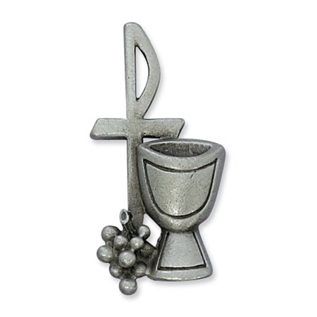 Pewter Chi Rho Cross with Chalice and Grapes Communion Lapel Pin, 1 1/2 Inch