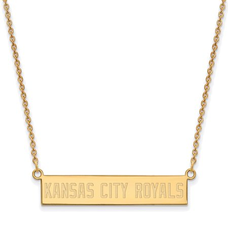 Kansas City Royals Jewelry (Kansas City Royals Women's Gold-Plated Sterling Silver Small Bar Necklace - No Size )