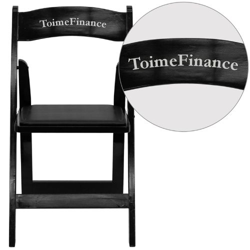 Personalized HERCULES Series Black Wood Folding Chair with Vinyl Padded Seat FLAXF2902BKWOODEMBVYLGG