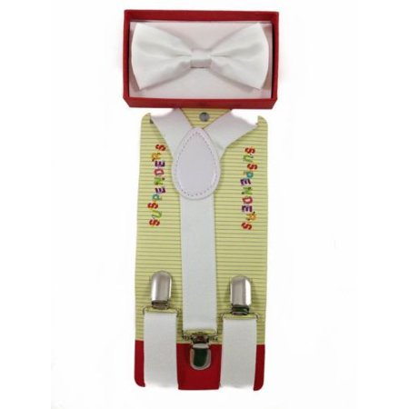 WHITE Toddler Kids Boys Girls Baby Suspenders and Bow Tie Matching Set Wedding (White Bow Tie And Suspenders)