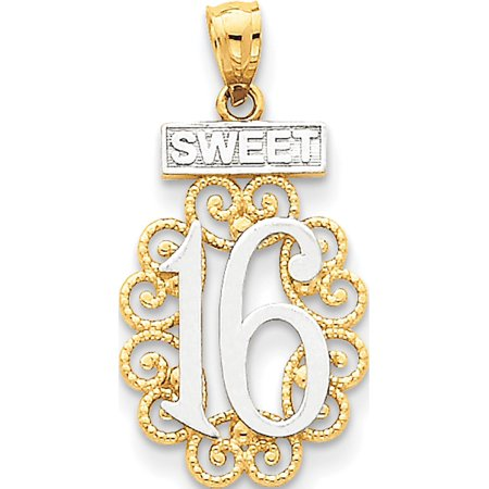 14k Yellow Gold Filigree Sweet 16 (13x27mm) Pendant / Charm