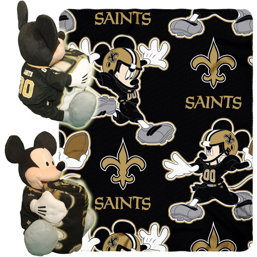 "Disney NFL Hugger Pillow and 40"" x 50"" Throw Set, New Orleans Saints"