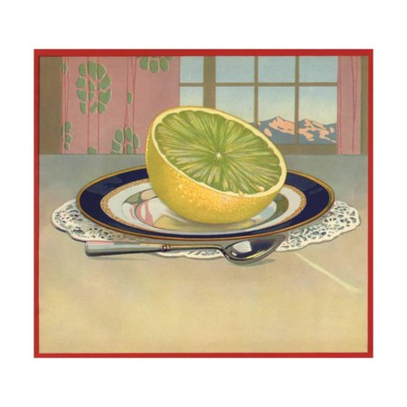 Grapefruit on Plate - Citrus Crate Label Print Wall Art By Lantern - Plate Wall Art