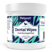 Petpost | Dental Wipes for Dogs - Bad Breath, Plaque and Tooth Decay Gone - 100 Presoaked Pads in Natural Tooth Cleaning Solution
