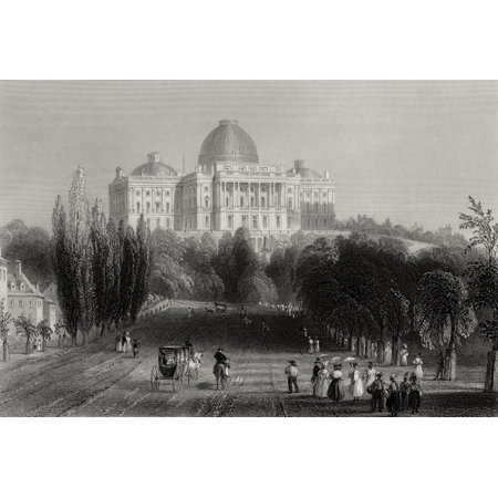 View Of The Capitol Building At Washington Usa From A 19Th Century Print Engraved By C J Bentley After W H Bartlett Stretched Canvas - Ken Welsh  Design Pics (17 x 11)