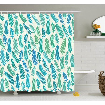 Teal Decor Shower Curtain Set Leaf Pattern Branch Trees