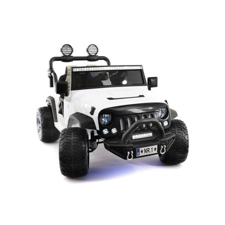 CarZ4KidS 12 Volt Explorer Truck Battery Powered Led Wheels 2 Seater Children Ride On Toy Car For Kids Leather Seat MP3 Music Player with FM Radio Bluetooth R/C Parental Remote | WHITE - Led Toys For Kids