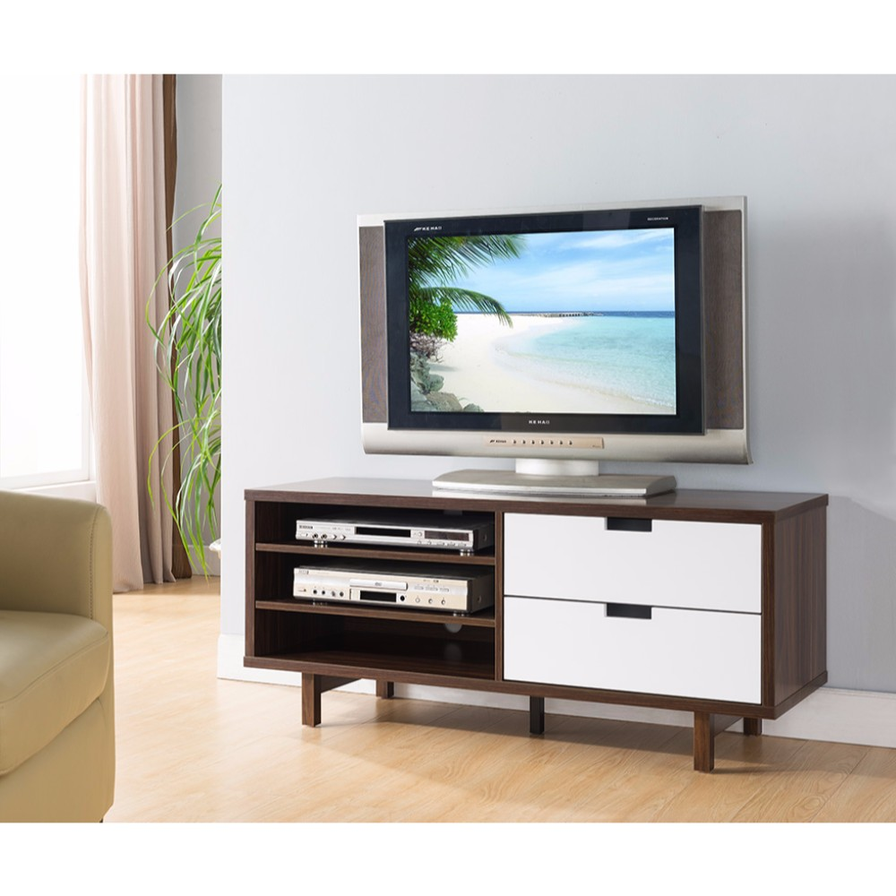 Two Toned Compact TV Stand With Display Decks, Dark Brown and White