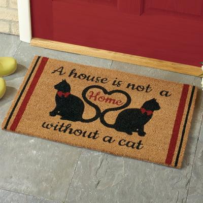 """Cat Lovers Novelty 18"""" x 30"""" Coco Doormat, Brown"""