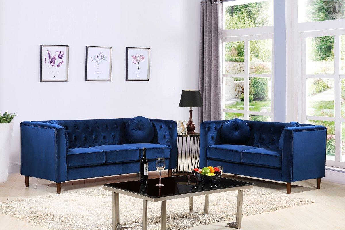 US Pride Furniture Ventura Chesterfield Velvet 2 Piece Living Room Set,  Sofa U0026 Loveseat,