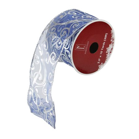 Blue and Silver Shiny Abstract Swirls Wired Christmas Craft Ribbon 2.5