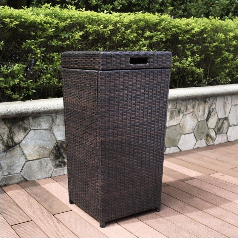 Crosley Furniture Palm Harbor Outdoor Wicker Trash Bin by Generic