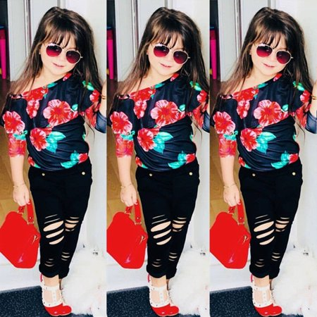91d5f855e1f83 Toddler Kids Baby Girls Flower Off Shoulder Tops Long Pants Outfits Clothes  Set