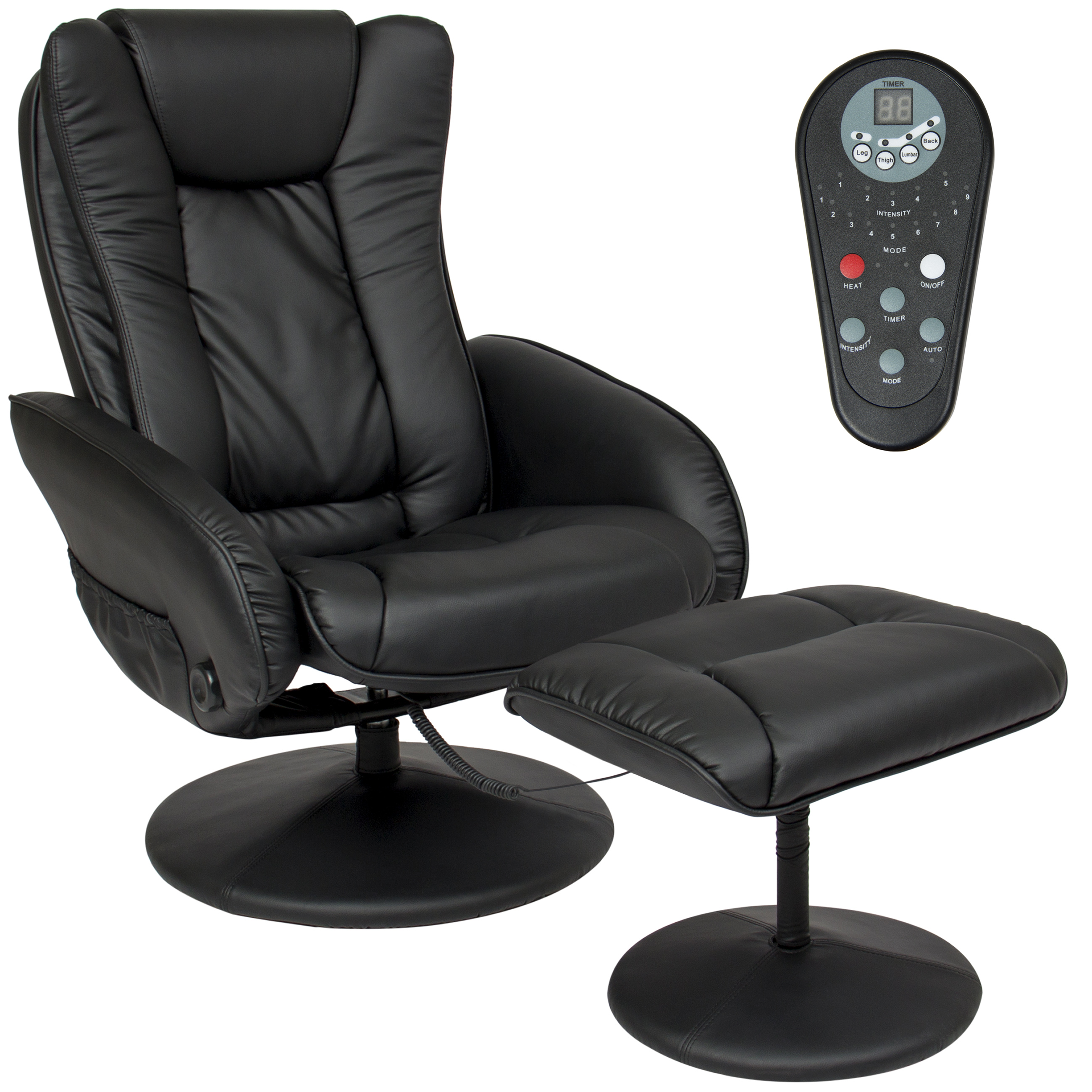 Leather Massage Recliner and Ottoman Set W/ Double Padding, Remote- Black