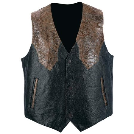 Giovanni Navarre® Hand-sewn Pebble Grain Genuine Leather Western-style Vest - Large - GFVWBRL