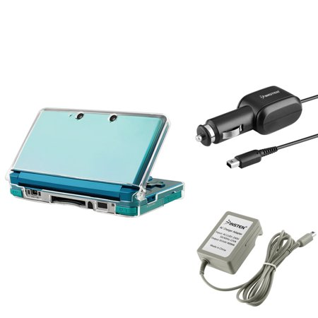 Insten Nintendo 3DS Bundle - Clear Crystal Hard Case + Car Charger + Travel AC Wall Charger (3-in-1 Accessory Bundle) ()