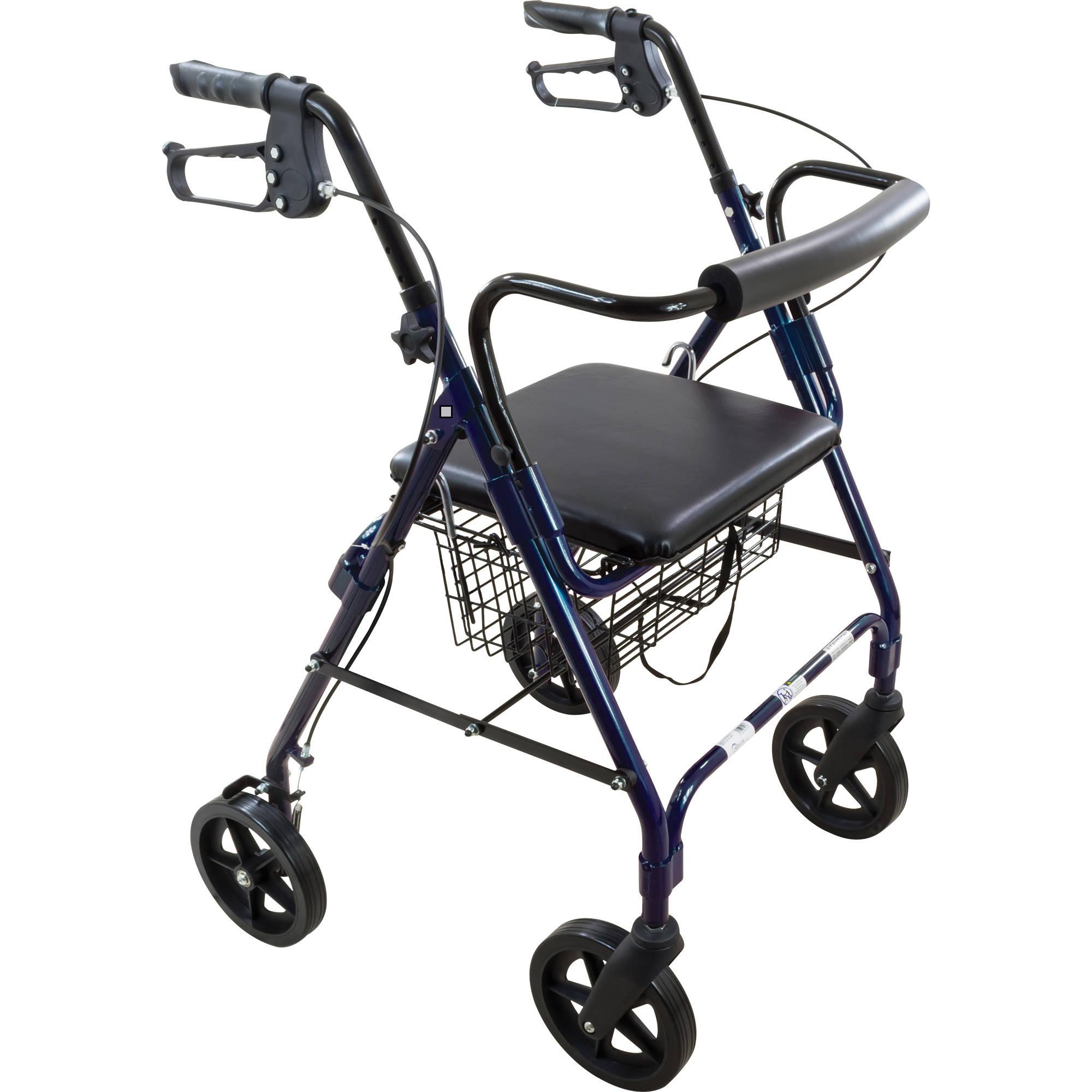"Roscoe Deluxe 8"" Wheel Rollator / Rolling Walker with Padded Seat - Blue"