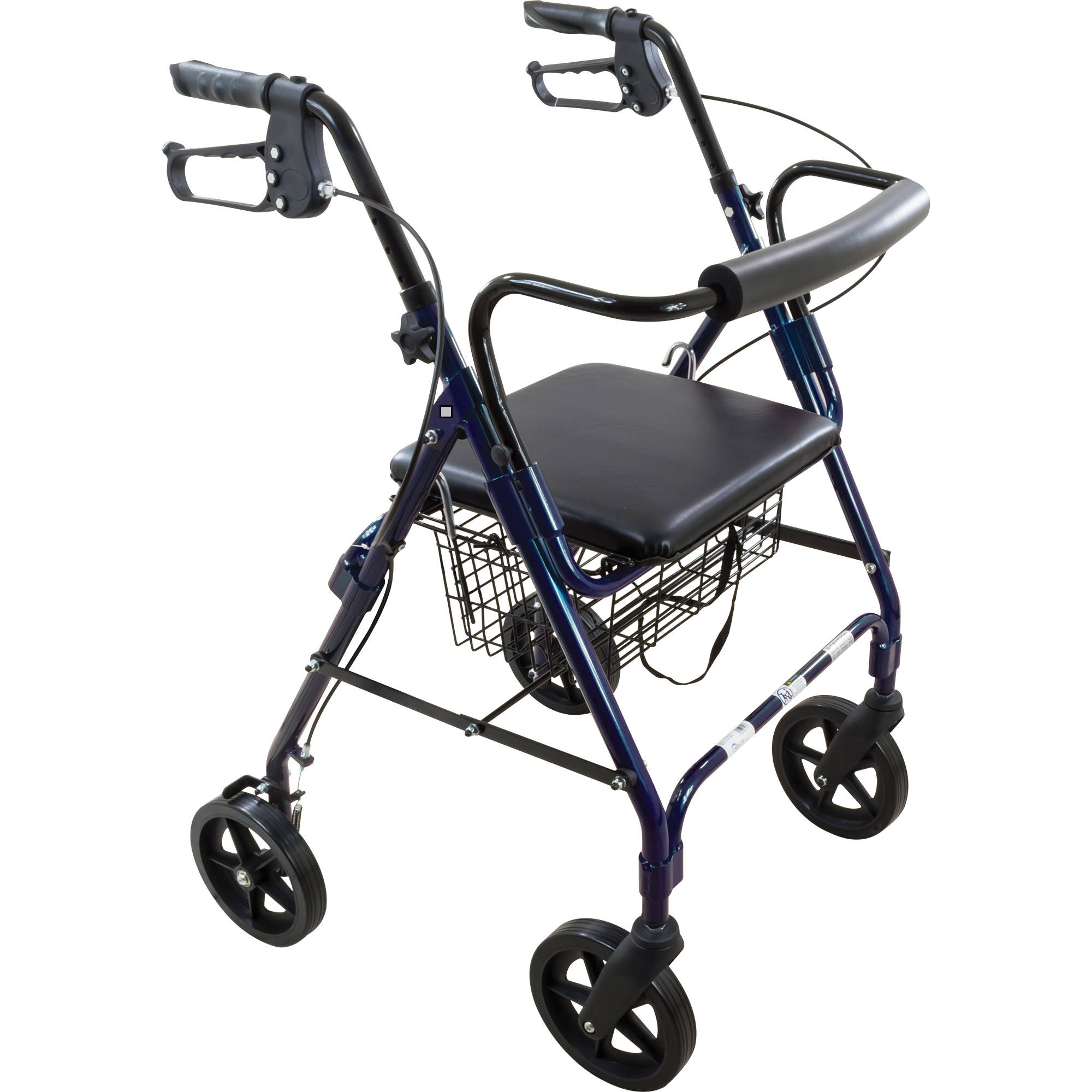 "Roscoe Deluxe 8"" Wheel Rollator / Rolling Walker with Padded Seat - Blue"