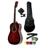 Fever 3/4 Size Acoustic Guitar Package Redburst with Gig Bag, Guitar Tuner, Picks and Strap, FV-030-DRD-PACK