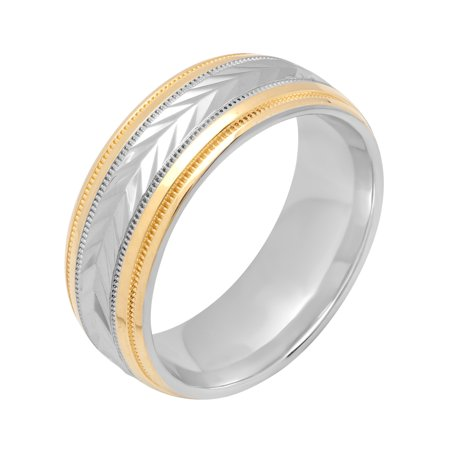8f872344f Men's 8MM Sterling Silver 14K Gold Plated Wedding Band - Mens Ring ...
