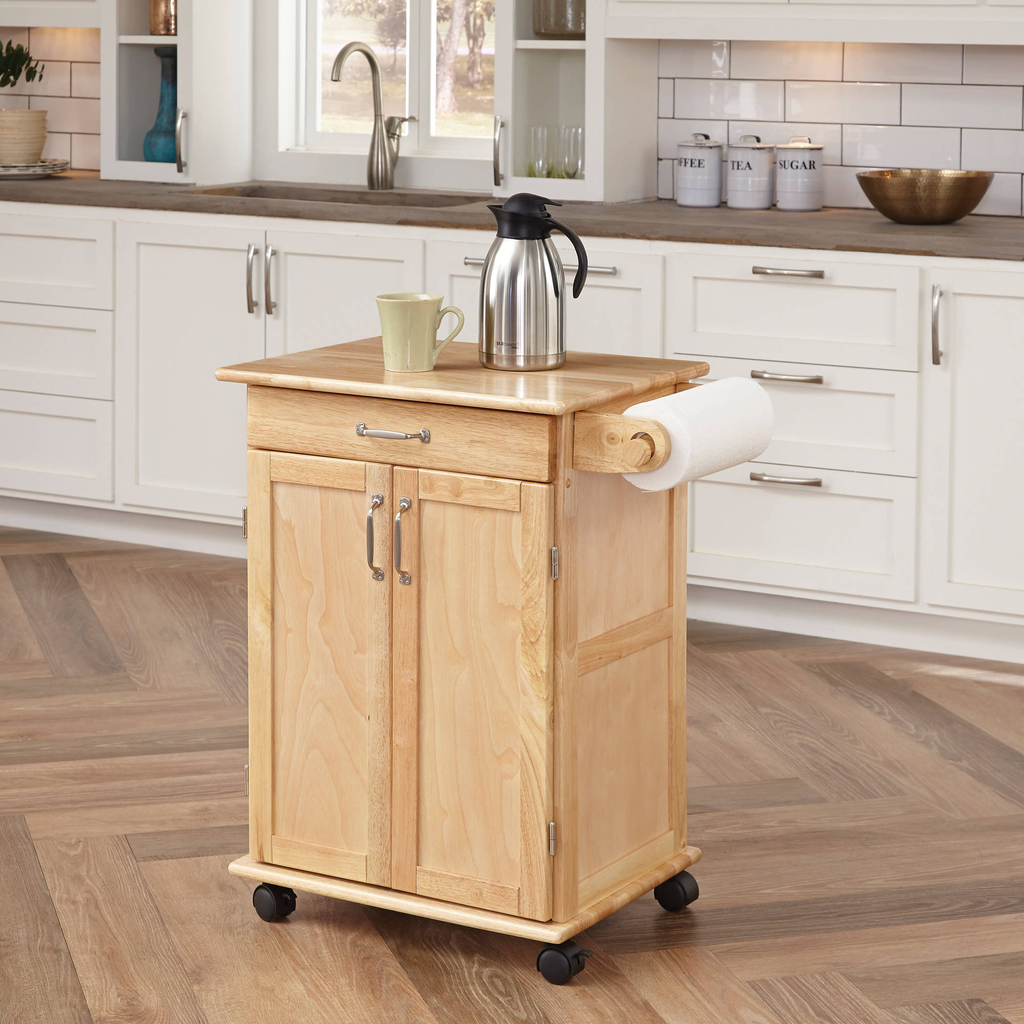 home styles solid wood kitchen cart, natural - walmart