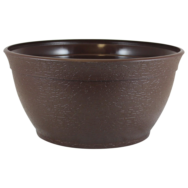 "Bloomers 14"" Porch Planter - Textured Flower Pot and Herb Garden - Brown"