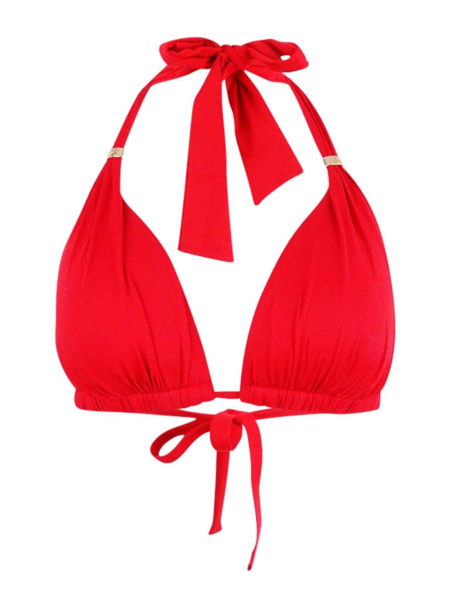 Lauren Ralph Lauren Triangle Halter Bikini Top Burgundy