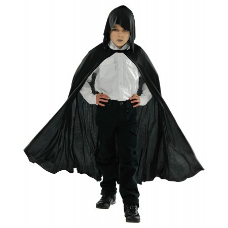 Child Hooded Black Cape Child Costume - One Size