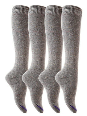 Lovely Annie Big Girl's 4 Pairs Pack Knee-High Cotton Boot Socks H158212 Size L/XL(Gray)