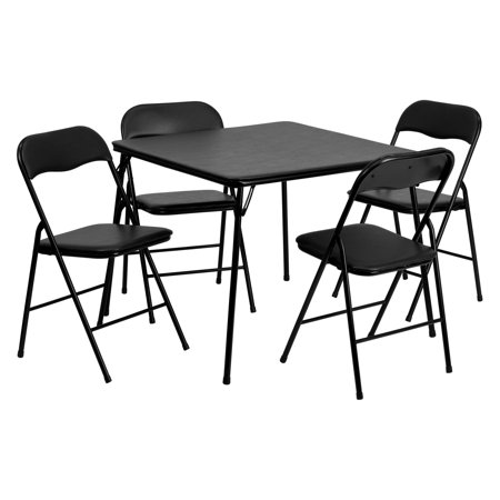 Flash Furniture 5 Piece Black Folding Card Table and Chair -