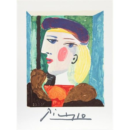 Pablo Picasso 2034 Femme Profile  44  Lithograph On Paper 29 In  X 22 In    Yellow  44  Blue  44  Green  44  Red
