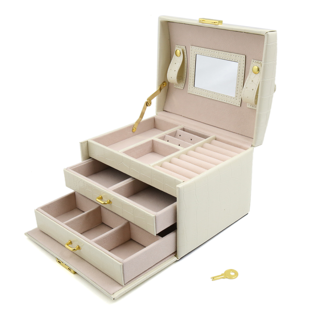 Large Jewellery Boxes Girls Rings Storage Organiser 3 Layers Display Travel Case