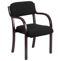 A Line Furniture Black Fabric and Mahogany Frame Visitor Chair