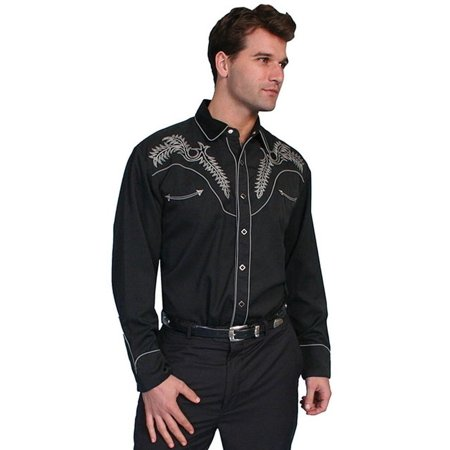 4c5e0ac596 Scully - Scully Western Shirt Mens L S Snap Boot Stitch Embroidered P-685 -  Walmart.com
