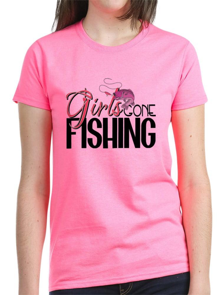 CafePress - Girls Gone Fishing Women's Dark T Shirt - Women's Dark T-Shirt