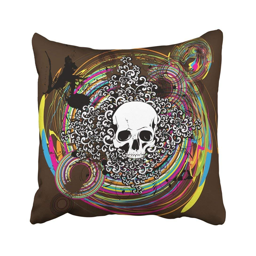 WOPOP Colorful Skull Grungy Abstract Bone Branch Circle Crack Danger Dark Pillowcase Pillow Cover 20x20 inches