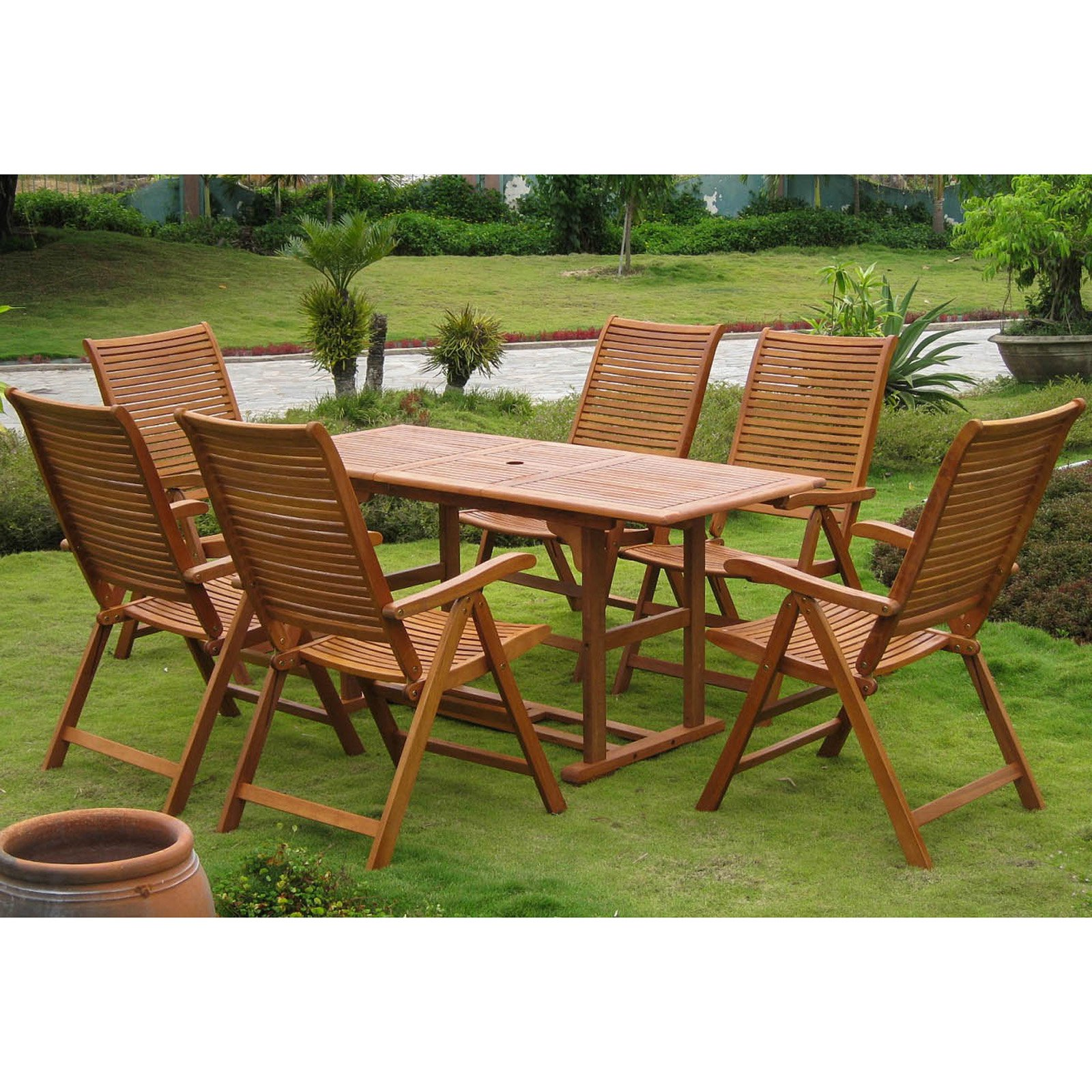International Caravan Royal Tahiti Tarrega Balau Wood 7 Piece Patio Dining Set