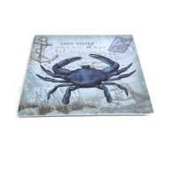 Merritt - Melamine Square Salad Plate - Seaside Postcard Crab - 8""