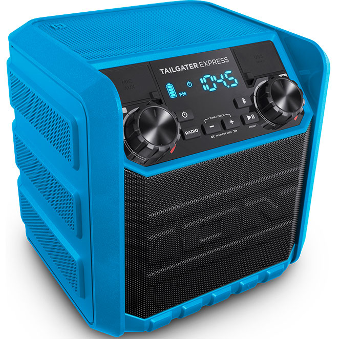 Ion Audio 20W Compact Water-Resistant Wireless Speaker System (Blue) - Tailgater Express